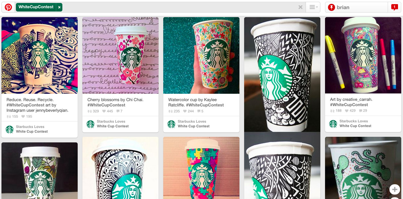 Starbucks - White Cup Contest - Pinterest for PR